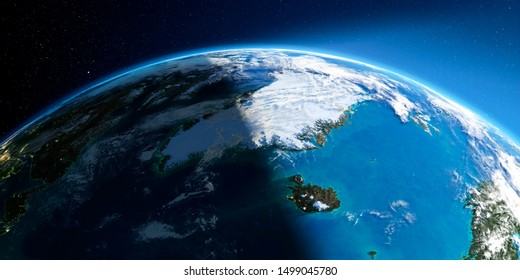 Highly detailed Earth with atmosphere, exaggerated relief and light-flooded cities. Transition from night to day. Greenland and Iceland. 3D rendering. Elements of this image furnished by NASA