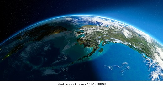 Highly detailed Earth with atmosphere,  relief and light-flooded cities. Transition from night to day. Chukotka, Alaska and the Bering Strait. 3D rendering. Elements of this image furnished by NASA
