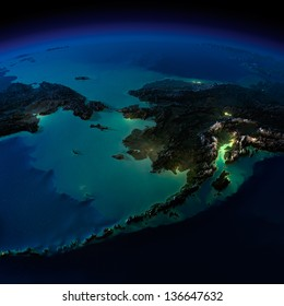 Highly detailed Earth, illuminated by moonlight. The glow of cities sheds light on the exaggerated terrain and translucent water. Alaska and the Bering Strait. Elements of this image furnished by NASA
