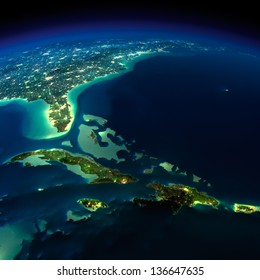 Highly detailed Earth, illuminated by moonlight. The glow of cities sheds light on the exaggerated terrain and translucent water. Bermuda Triangle area. Elements of this image furnished by NASA