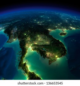 Highly detailed Earth, illuminated by moonlight. The glow of cities sheds light on the exaggerated terrain and translucent water. Asia, Indochina peninsula. Elements of this image furnished by NASA