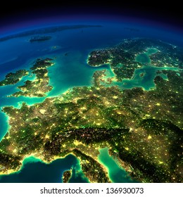 Highly detailed Earth, illuminated by moonlight. The glow of cities sheds light on the detailed exaggerated terrain. Central Europe. Elements of this image furnished by NASA