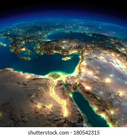 Highly detailed Earth, illuminated by moonlight. The glow of cities sheds light on the detailed exaggerated terrain. Night Earth. Africa and Middle East. Elements of this image furnished by NASA