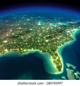 Highly detailed Earth, illuminated by moonlight. The glow of cities sheds light on the detailed exaggerated terrain. Night Earth. Gulf of Mexico and Florida. Elements of this image furnished by NASA