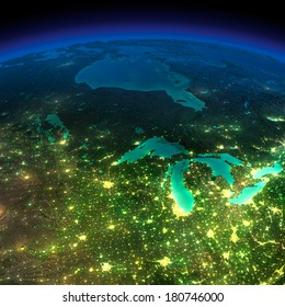 Highly detailed Earth, illuminated by moonlight. The glow of cities sheds light on the detailed exaggerated terrain. Northern U.S. states and Canada. Elements of this image furnished by NASA