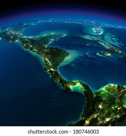 Highly detailed Earth, illuminated by moonlight. The glow of cities sheds light on the detailed exaggerated terrain. Night. The countries of Central America. Elements of this image furnished by NASA
