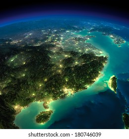 Highly detailed Earth, illuminated by moonlight. The glow of cities sheds light on the detailed exaggerated terrain. Night Earth. Eastern China and Taiwan. Elements of this image furnished by NASA