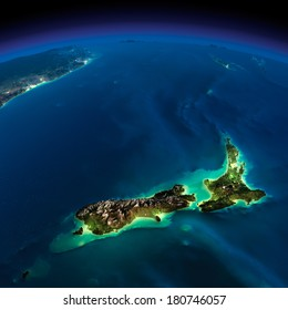 Highly detailed Earth, illuminated by moonlight. The glow of cities sheds light on the detailed exaggerated terrain. Night Earth. Pacific - New Zealand. Elements of this image furnished by NASA