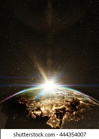 Highly detailed epic sunrise over world skyline. Planet earth Europe zone with night time city. 3D Rendering animation using satellite imagery (NASA)