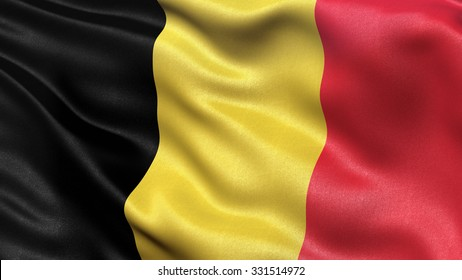 Highly detailed flag of Belgium waving in the wind.