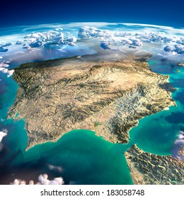 Highly detailed fragments of the planet Earth with exaggerated relief, translucent ocean and clouds, illuminated by the morning sun. Spain and Portugal. Elements of this image furnished by NASA