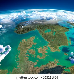 Highly detailed fragments of the planet Earth with exaggerated relief, translucent ocean, illuminated by the morning sun.  Denmark, Sweden and Norway. Elements of this image furnished by NASA