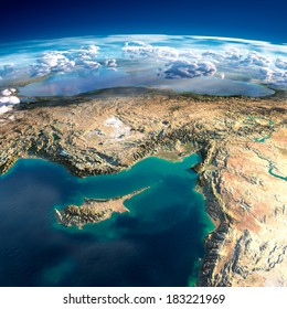 Highly detailed fragments of the planet Earth with exaggerated relief, translucent ocean, illuminated by the morning sun. Cyprus, Syria and Turkey. Elements of this image furnished by NASA