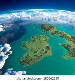 Highly detailed fragments of the planet Earth with exaggerated relief, translucent ocean and clouds, illuminated by the morning sun. Ireland and UK. Elements of this image furnished by NASA