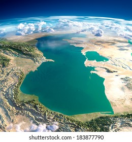 Highly detailed fragments of the planet Earth with exaggerated relief, translucent ocean and clouds, illuminated by the morning sun. Caspian Sea. Elements of this image furnished by NASA