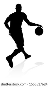 A highly detailed high quality Basketball player silhouette