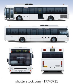 A highly detailed illustration of a modern city bus, perfect for applying advertising to.