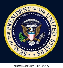 Highly detailed illustration of the official Seal of the President of the United States. Two layers of Shading for depth. Editorial design