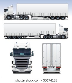 A highly detailed illustration of semi-trailer truck. Perfect for applying company graphics to.