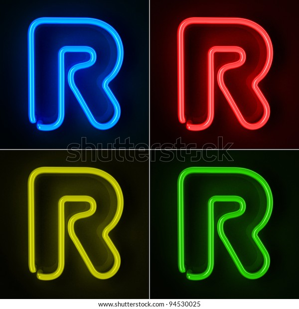 Highly detailed neon sign with the letter R in four colors