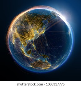 Highly detailed planet Earth is covered by complex network of air routes based on real data. The relief and oceans is illuminated by the light of air traces. Elements of this image furnished by NASA