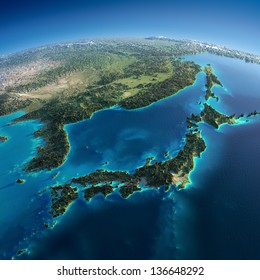 Highly detailed planet Earth. Exaggerated precise relief is illuminated by the rising sun from the east. Part of Asia, the Japanese sea. Elements of this image furnished by NASA