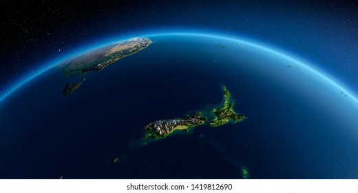 Highly detailed planet Earth. Exaggerated precise relief is illuminated by the rising sun from the east. Part of the Pacific Ocean, New Zealand. 3D rendering. Elements of this image furnished by NASA