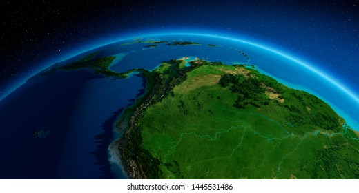 Highly detailed planet Earth. Exaggerated precise relief lit morning sun. South America. Peru, Ecuador, Colombia, Venezuela and part of Brazil. 3D rendering. Elements of this image furnished by NASA