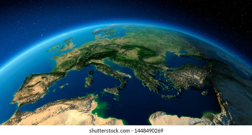 Highly detailed planet Earth with exaggerated relief illuminated by the evening sun. Italy, Greece and the Mediterranean Sea. 3D rendering. Elements of this image furnished by NASA