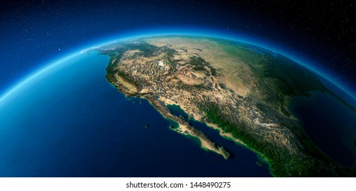 Highly detailed planet Earth with exaggerated relief illuminated by the evening sun. Gulf of California, Mexico and the western U.S. states. 3D rendering. Elements of this image furnished by NASA