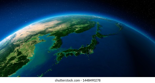 Highly detailed planet Earth with exaggerated relief illuminated by the evening sun. Japan and Korea. 3D rendering. Elements of this image furnished by NASA