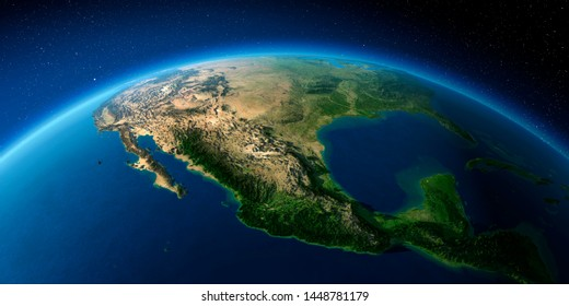 Highly detailed planet Earth with exaggerated relief illuminated by the evening sun. Mexico. 3D rendering. Elements of this image furnished by NASA