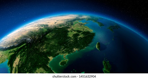 Highly detailed planet Earth with exaggerated relief illuminated by the evening sun. Eastern China and Taiwan. 3D rendering. Elements of this image furnished by NASA
