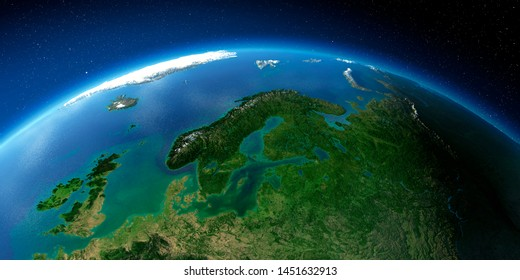 Highly detailed planet Earth with exaggerated relief illuminated by the evening sun. European part of Russia. 3D rendering. Elements of this image furnished by NASA