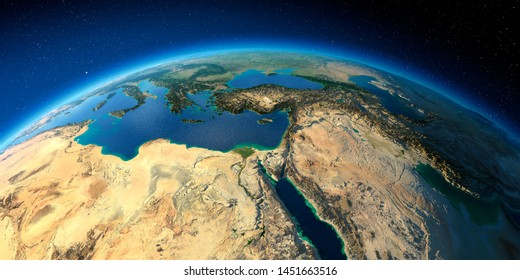 Highly detailed planet Earth with exaggerated relief illuminated by the evening sun. Africa and Middle East. 3D rendering. Elements of this image furnished by NASA