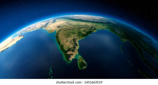 Highly detailed planet Earth with exaggerated relief illuminated by the evening sun. India and Sri Lanka. 3D rendering. Elements of this image furnished by NASA