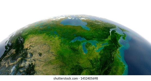 Highly detailed planet Earth with exaggerated relief and transparent oceans illuminated by sunlight. United States and Canada. Great Lakes. 3D rendering. Elements of this image furnished by NASA