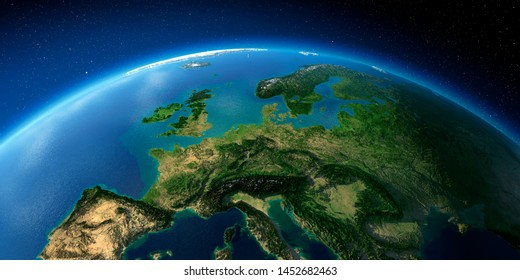 Highly detailed planet Earth with exaggerated relief illuminated by the evening sun. Central Europe. 3D rendering. Elements of this image furnished by NASA