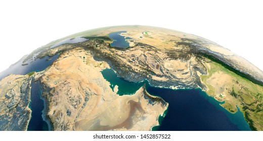 Highly detailed planet Earth with exaggerated relief and transparent oceans illuminated by sunlight. Persian Gulf. 3D rendering. Elements of this image furnished by NASA