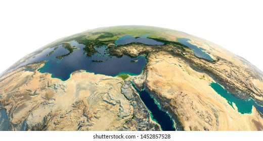 Highly detailed planet Earth with exaggerated relief and transparent oceans illuminated by sunlight. Africa and Middle East. 3D rendering. Elements of this image furnished by NASA