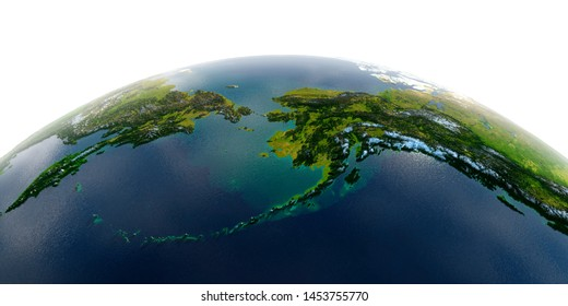 Highly detailed planet Earth with exaggerated relief and transparent oceans illuminated by sunlight. Chukotka, Alaska and the Bering Strait. 3D rendering. Elements of this image furnished by NASA