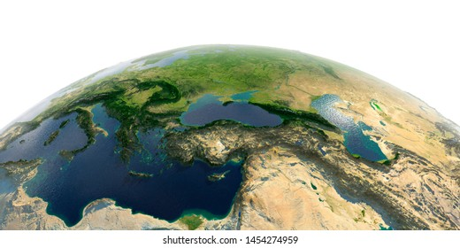 Highly detailed planet Earth with exaggerated relief and transparent oceans illuminated by sunlight. Middle East countries. 3D rendering. Elements of this image furnished by NASA