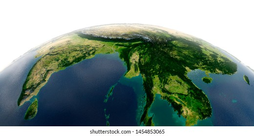 Highly detailed planet Earth with exaggerated relief and transparent oceans illuminated by sunlight.India, Bangladesh, Nepal, Bhutan, Thailand. 3D rendering. Elements of this image furnished by NASA