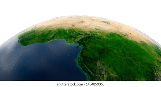 Highly detailed planet Earth with exaggerated relief and transparent oceans illuminated by sunlight. Africa. Countries of the Gulf of Guinea. 3D rendering. Elements of this image furnished by NASA