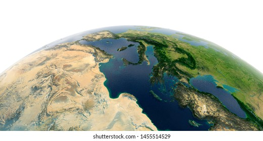 Highly detailed planet Earth with exaggerated relief and transparent oceans illuminated by sunlight. Africa and Europe. Mediterranean Sea. 3D rendering. Elements of this image furnished by NASA