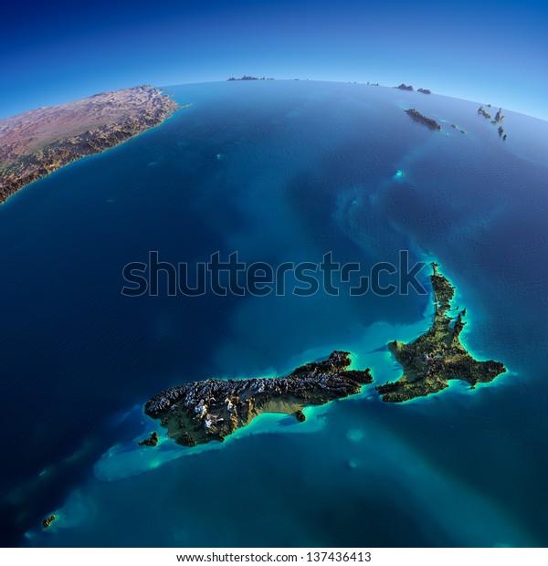 Altamente detalhado planeta Terra. Alívio preciso exagerado é iluminado pelo sol nascente do leste. Parte do Oceano Pacífico, Nova Zelândia. Elementos desta imagem fornecidos pela NASA