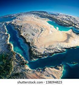 Une planète Terre très détaillée le matin. Un relief précis exagéré illuminé le soleil du matin. Proche-Orient - Péninsule arabique, Golfe d'Aden, Arabie Saoudite. Éléments de cette image fournis par la NASA