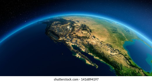 Highly detailed planet Earth in the morning. Exaggerated precise relief lit morning sun. Gulf of California, Mexico and the western U.S. states. 3D rendering. Elements of this image furnished by NASA