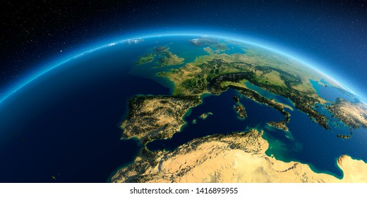 Highly detailed planet Earth in the morning. Exaggerated precise relief lit morning sun. Part of Europe, the Mediterranean Sea. 3D rendering. Elements of this image furnished by NASA