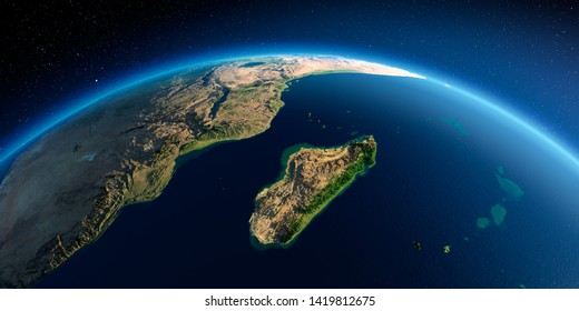 Highly detailed planet Earth in the morning. Exaggerated precise relief lit morning sun. Detailed Earth. Africa and Madagascar. 3D rendering. Elements of this image furnished by NASA